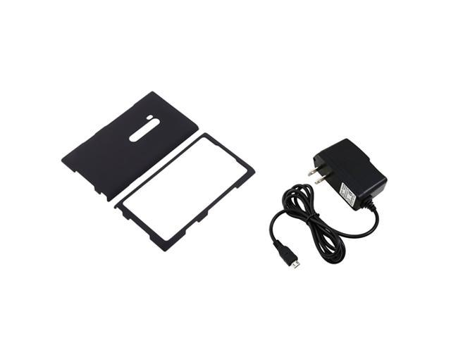 Insten Black Rubber Coated Case with 1 Travel/Wall Charger for Nokia Lumia 900