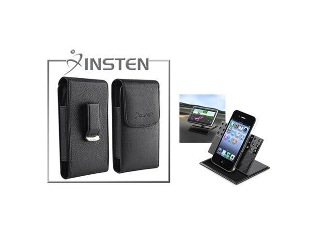 Insten Car Dashboard Holder + INSTEN Black Leather Skin Case Cover Compatible with iPhone 4 4G 4S