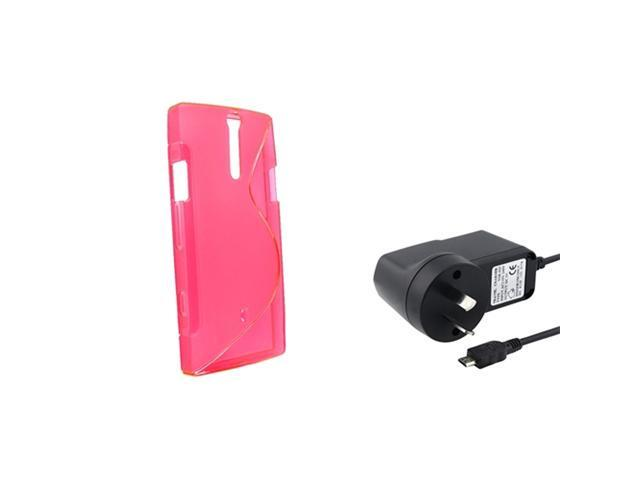 Insten Pink S Shape Rubber TPU Gel Skin Case + Wall AC Charger Compatible With Sony Xperia S LT26i