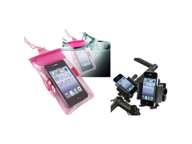Insten Pink Waterproof PVC Bag Case + Universal Bicycle Phone Holder Compatible With Cell phones / PDA