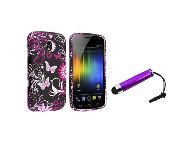 Insten Purple Flower Butterfly Rubberized Case + Stylus Pen compatible with Samsung Galaxy Nexus i9250