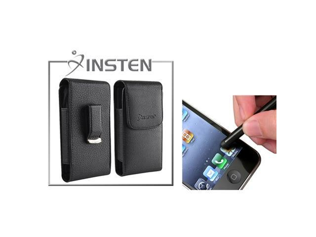 Insten Stylus + INSTEN Magnetic Flap Black Leather Case Cover Pouch Compatible with iPhone 4 4S