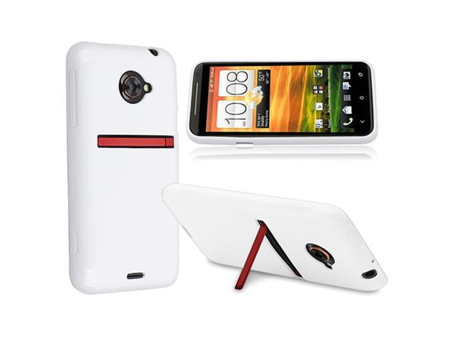 Insten White Jelly TPU Rubber Skin Case + 3.5mm In-ear Stereo Headset w/On-off & Mic Compatible with HTC EVO 4G LTE