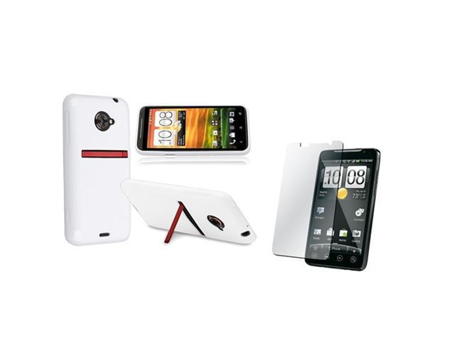 Insten White Jelly TPU Rubber Skin Case + Reusable Screen Protector Compatible with HTC EVO 4G LTE