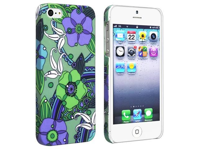 Insten Flower Rear Style 25 Snap-on Rubber Coated Case Cover + Colorful Diamond LCD Cover compatible with Apple iPhone 5