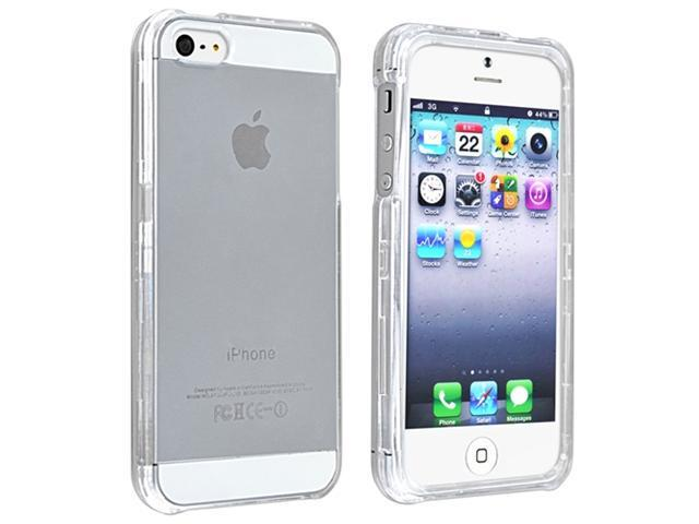 Insten Clear Snap-on Crystal Case Cover + White In-ear (w/on-off) Stereo Headsets Compatible with Apple iPhone 5