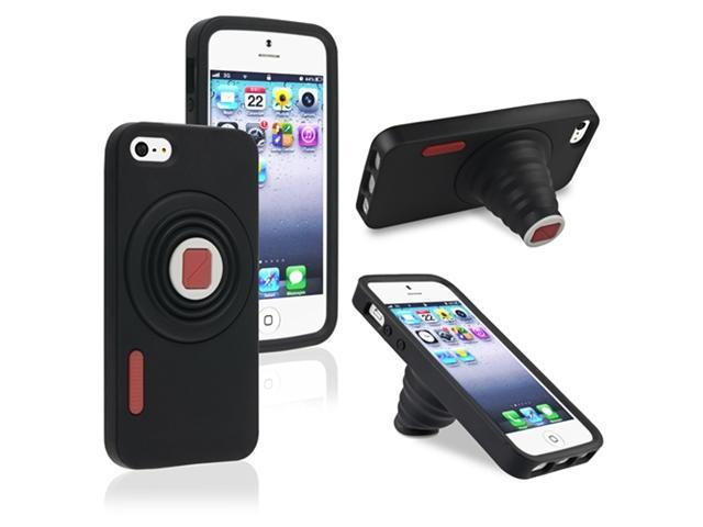 Insten Black Camera Gel Snap-on Case Cover Stand + Black Stylus Pen Compatible with Apple iPhone 5