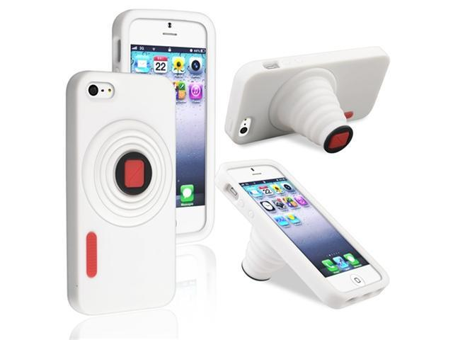Insten White Camera Gel Case Cover Stand + White In-ear (w/on-off) Stereo Headsets Compatible with Apple iPhone 5