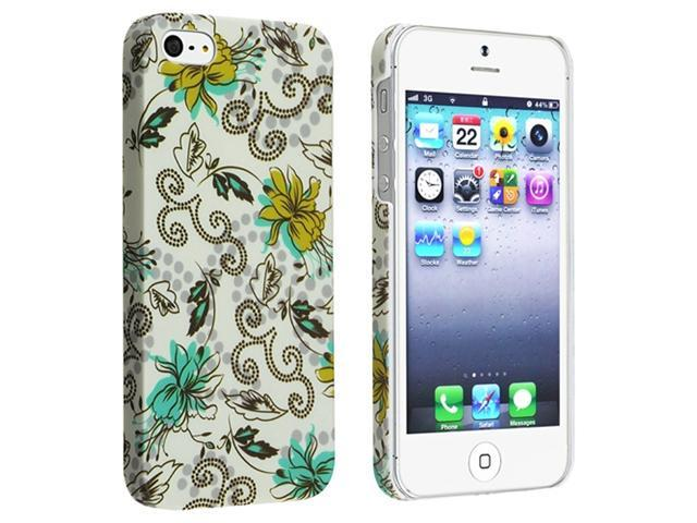 Insten Flower Rear Style 60 Clip-on Rubber Coated Case Cover + 2 LCD Kit Screen Protector Compatible With Apple iPhone 5 / 5s 929643