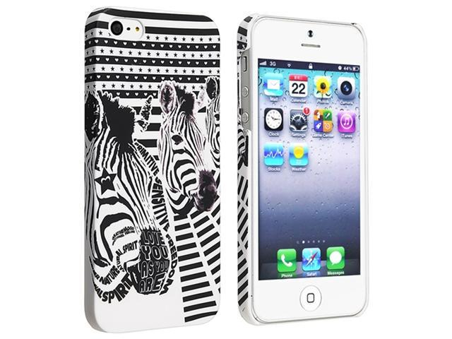 Insten White/ Black Zebra Head Snap-on Rubber Coated Case Cover + Colorful Diamond LCD Cover Compatible with Apple iPhone 5