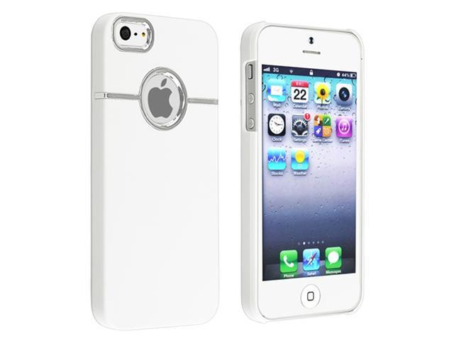 Insten White with Chrome Hole Rear Snap-on Rubber Coated Case Cover + White In-ear (w/on-off) Stereo Headsets Compatible with Apple iPhone 5