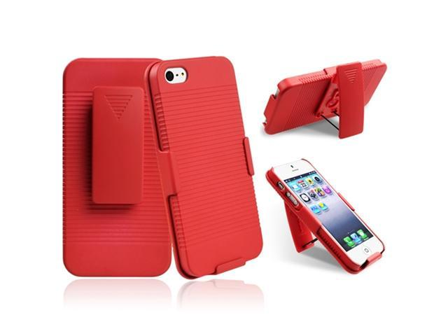 Insten Red Swivel Holster with Stand Case Cover + White Docking Port Cap Compatible with Apple iPhone 5
