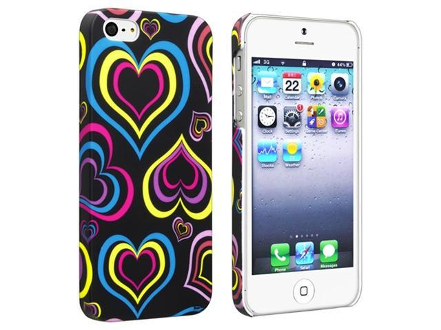 Insten Black/ Colorful Hearts Snap-on Rubber Coated Case Cover + Colorful Diamond LCD Cover compatible with Apple iPhone 5