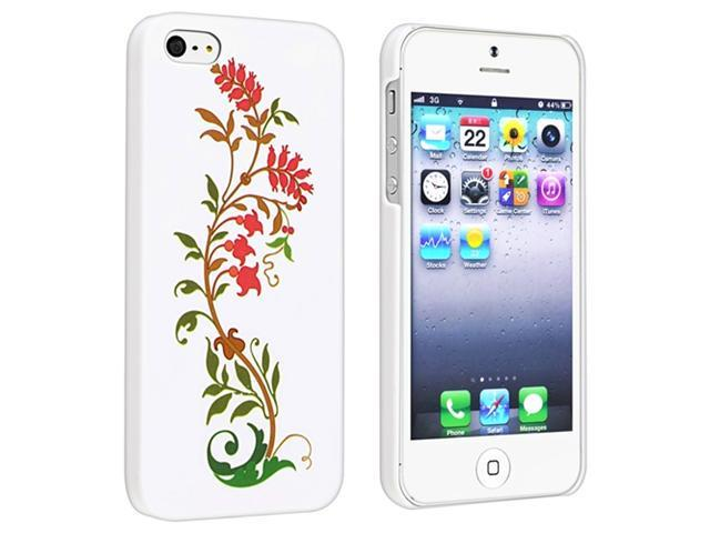 Insten Red on White Blooming Flowers Case & Covers