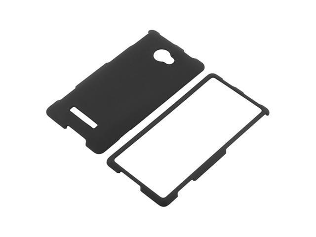 Insten Black Snap-on Rubber Coated Case Cover + Clear Reusable Screen Protector Compatible with HTC Windows Phone 8X