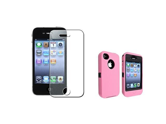 Insten Black Hard/ Pink Skin Hybrid Case + Diamond Screen Protector Compatible with Apple iPhone 4 / 4S