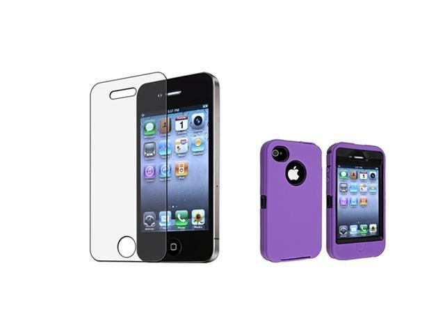 Insten Black Hard/ Purple Skin Hybrid Case + Anti-glare Screen Protector Compatible with Apple iPhone 4 / 4S