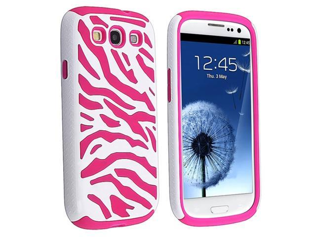 Insten Hybrid Hot Pink White Zebra Silicone / Plastic Case Cover + Colorful Diamond Screen Protector compatible with Samsung Galaxy SIII / S3