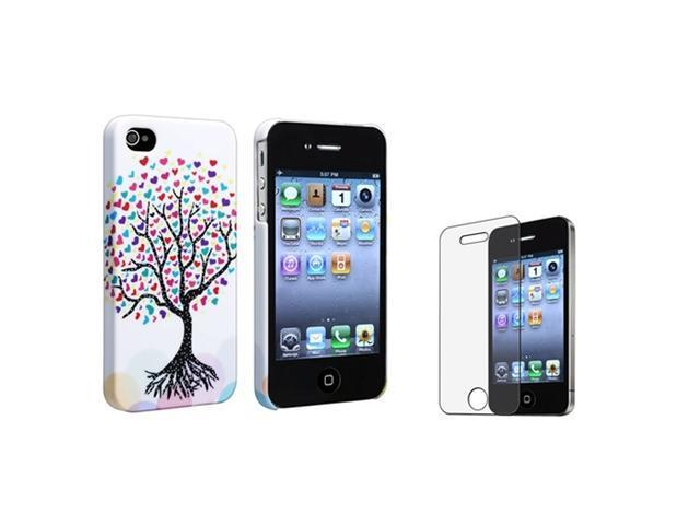 Insten Romantic Cute Colorful Love Tree Hearts Rubber Case + Anti-glare Screen Protector Compatible with Apple iPhone 4 / 4S