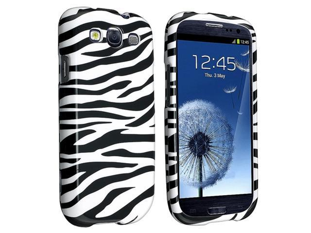 Insten Snap-on Rubber Coated Case Cover Compatible with Samsung Galaxy S III / S3, Black / White Zebra
