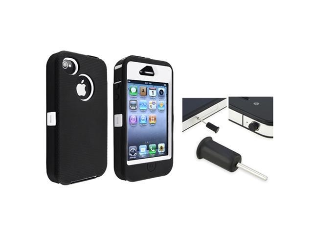 Insten White Hard/ Black Skin Hybrid Case + Black Headset Dust Cap compatible with Apple iPhone 4/4s