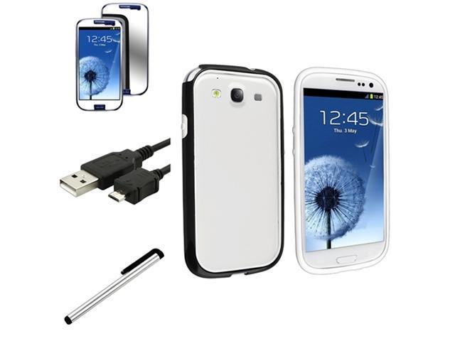 Insten Black/White TPU Skin Case Cover + Mirror Guard + USB + More For Samsung Galaxy S3 SIII