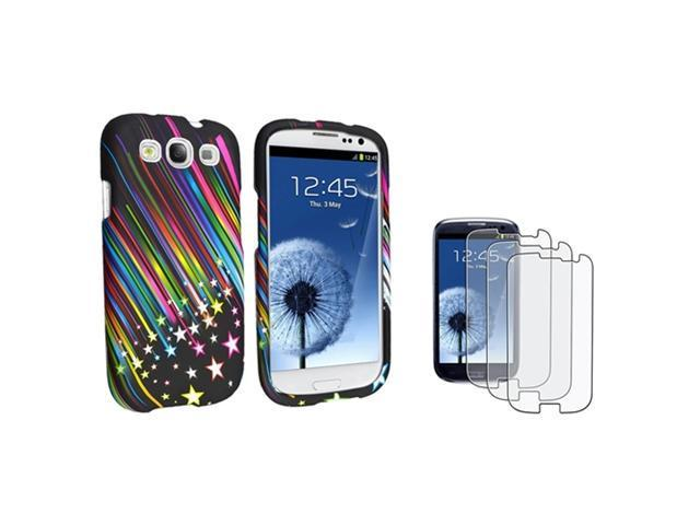 Insten Rainbow Star Phone Case + 3 Pack Anti-Glare Guard For Samsung Galaxy S3 SIII i9300