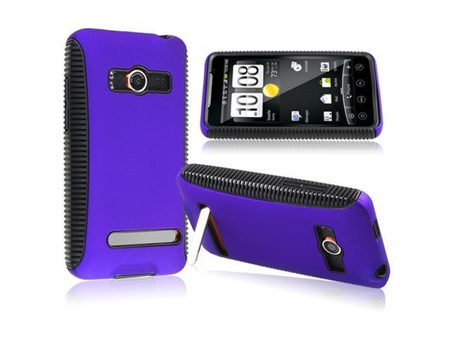 Insten Black TPU/ Blue Hard Hybrid Case Cover + Reusable Screen Protector Compatible with HTC EVO 4G