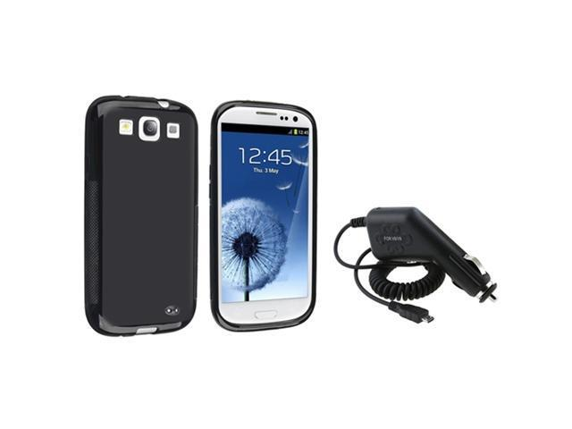 Insten Black TPU Rubber Skin Case + In Car DC Charger For Samsung Galaxy SIII S3 i9300
