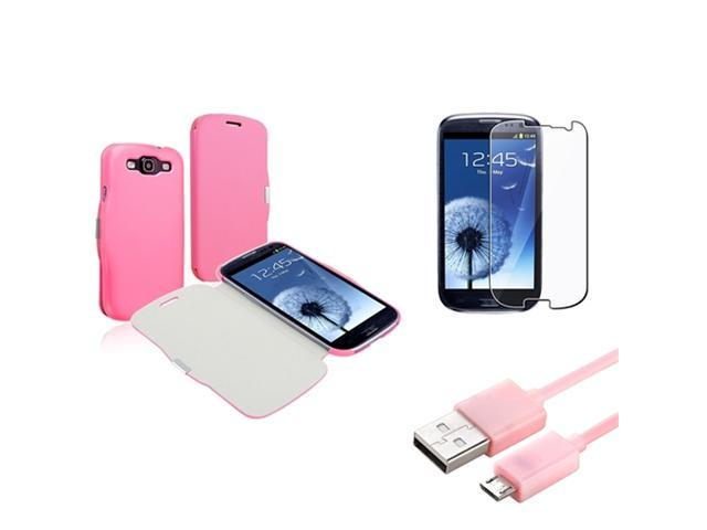 Insten Pink Flip Leather Back Case + Clear Guard + USB for Samsung Galaxy S III S 3 i9300