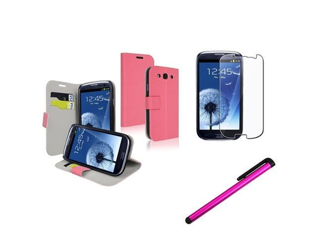 Insten Pink Wallet Case + Clear Film + Stylus Pen for Samsung Galaxy S III S 3 i9300