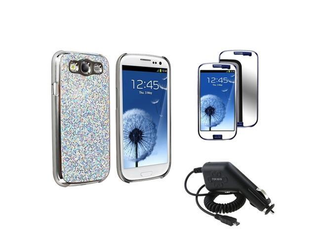 Insten Glitter Hard Phone Case + Charger + Mirror LCD For Samsung Galaxy S III S3 i9300