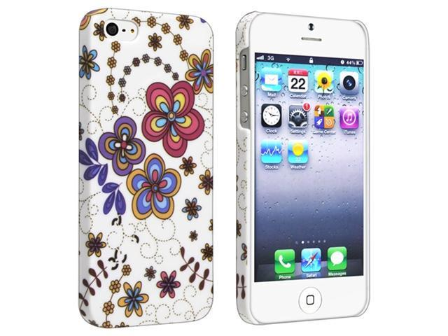 Insten Snap-on Rubber Coated Case Cover Compatible with Apple iPhone 5 / 5S, Flower Rear Style 43