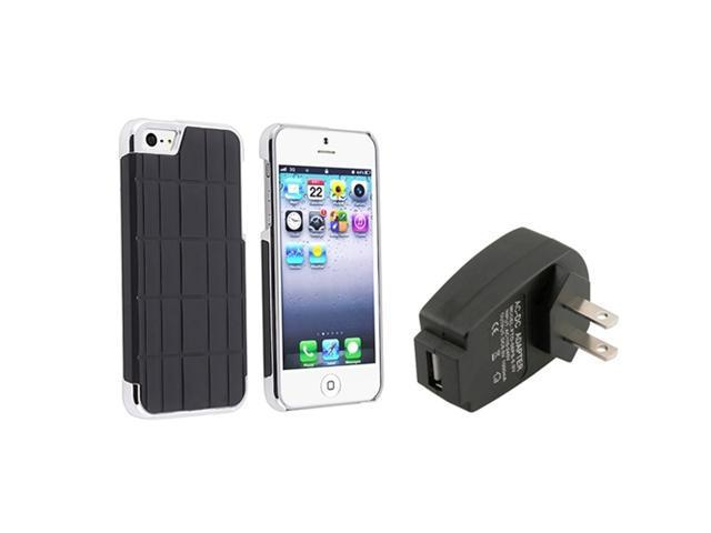 Insten Black Metal Vinyl Hard plastic Case + Travel/Wall Charger compatible with Apple iPhone 5