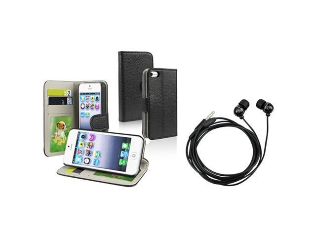 Insten Black with Wallet Card Holder Leather Case + Black Ball-head Shape In-ear (w/on-off) Stereo Headsets compatible with Apple iPhone 5