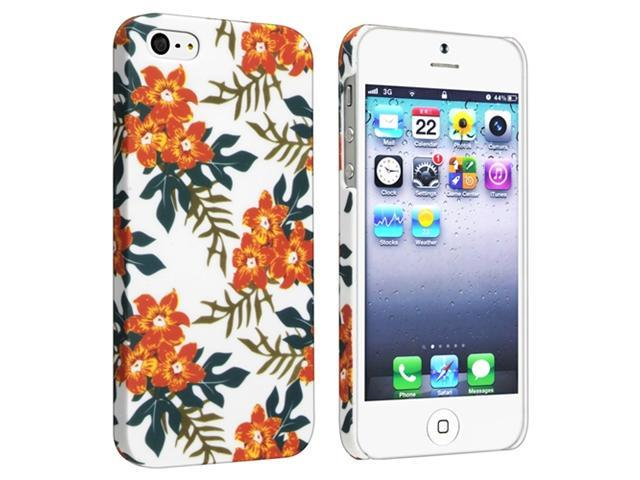 Insten Snap-on Rubber Coated Case Cover Compatible with Apple iPhone 5 / 5S, Flower Rear Style 59