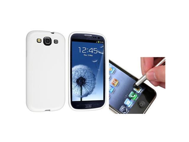Insten White Jelly TPU Case + Silver Stylus Pen for Samsung Galaxy S III