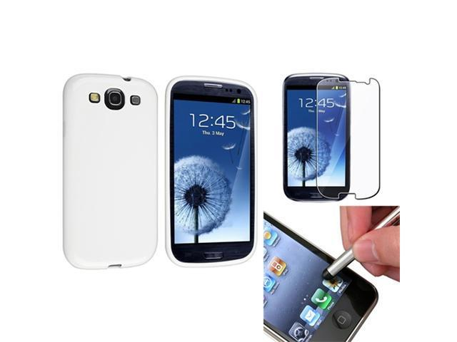Insten White Jelly TPU Case + Clear Reusable Screen Protector + Stylus Pen for Samsung Galaxy S III