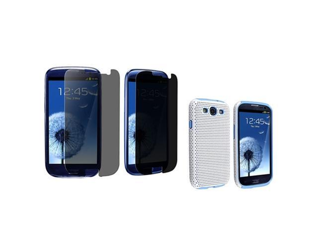 Insten Light Blue Hybrid Meshed Case + Privacy Screen Cover compatible with Samsung Galaxy S III / S3