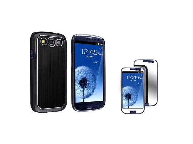 Insten Black Snap on Brushed Aluminum Case +  Mirror Screen Protector Compatible With Samsung Galaxy S III / S3