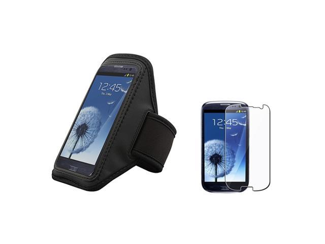 Insten Black Armband + Reusable Screen Protector Compatible With Samsung Galaxy SIII / S3