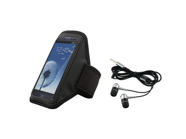 Insten Black Armband + In-ear (w/on-off) Stereo Headsets Compatible With Samsung Galaxy SIII / S3