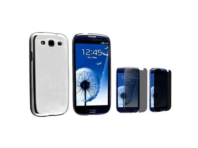 Insten Clear White Raindrop Snap on Case +  Privacy Screen Protector Compatible With Samsung Galaxy SIII / S3
