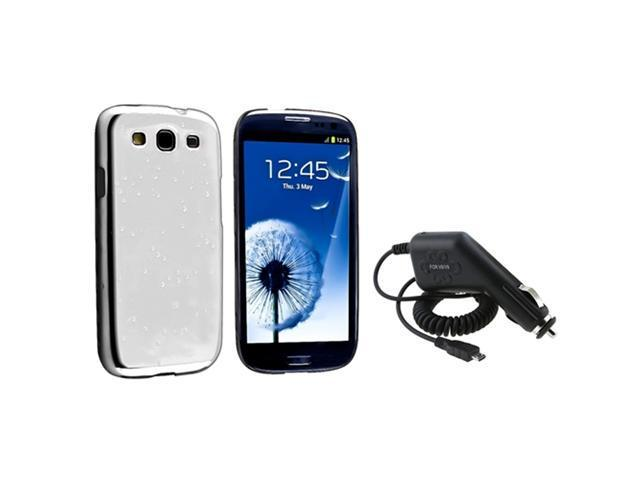 Insten Clear White Raindrop Snap on Case + Car Charger Compatible With Samsung Galaxy SIII / S3