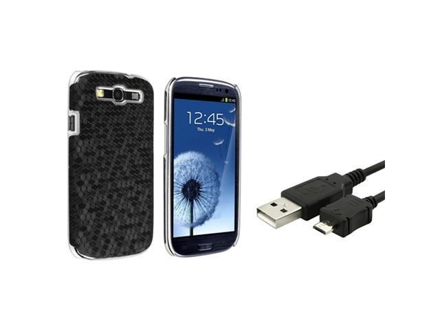 Insten Black Chrome Rear Snap-on Leather Case + Charging Data Cable compatible with Samsung Galaxy S III / S3