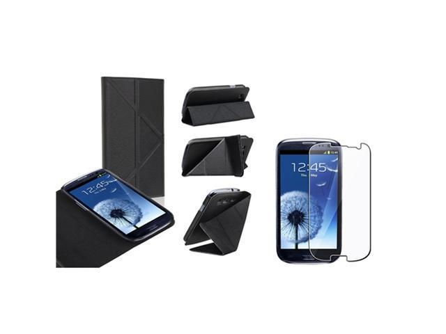 Insten Black Leather Flip Foldable Stand Case + Reusable Screen Protector Compatible With Samsung Galaxy SIII / S3