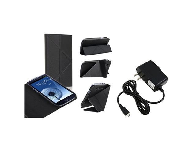 Insten Black Leather Flip Foldable Stand Case with Travel/Wall Charger Compatible With Samsung Galaxy SIII / S3