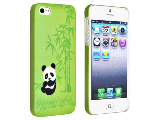 Insten Green Bamboo Panda Rubber Coated Case Cover + 2 LCD Kit Mirror Screen Protector Compatible With Apple iPhone 5 / 5s 898109