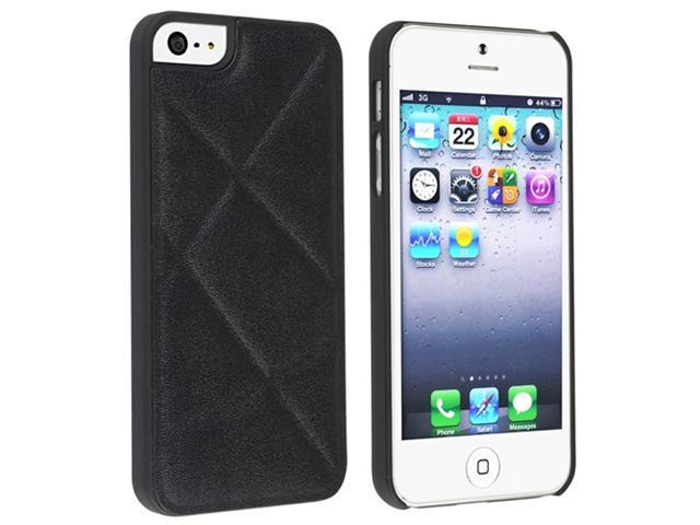 Insten Black Quilted Leather Hard plastic Case Cover + 2 LCD Kit Mirror Screen Protector Compatible With Apple iPhone 5 / 5s 898181