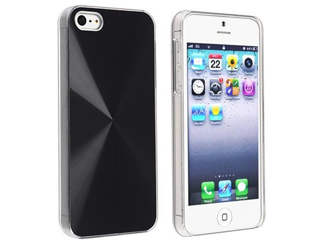 Insten Black Metalic Snap-on Case Cover + Reusable Screen Protector compatible with Apple  iPhone  5